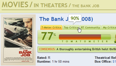 Hovering over the Top Critics tab on RT